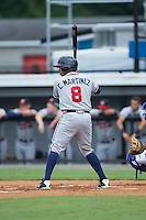 Carlos Martinez (8) of the Danville Braves at bat against the Burlington Royals at Burlington Athletic Park on July 12, 2015 in Burlington, North Carolina.  The Royals defeated the Braves 9-3. (Brian Westerholt/Four Seam Images)