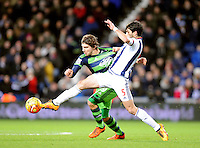Alberto Paloschi of Swansea City and Claudio Yacob of West Bromwich Albion during the Barclays Premier League match between West Bromwich Albion and Swansea City at The Hawthorns on the 2nd of February 2016