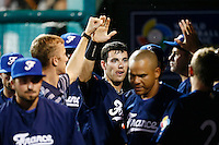 21 September 2012: Emmanuel Garcia is congratulated by his teammates during France vs South Africa tie game 2-2, rain delayed at the end of the 9th inning at 1 AM, during the 2012 World Baseball Classic Qualifier round, in Jupiter, Florida, USA. Game to resume 22 September 2012 at noon.