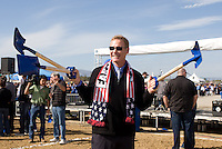 Earthquakes general manager John Doyle holds up the shovels during Groundbreaking Ceremony at new stadium in Santa Clara, California on October 21st, 2012.  San Jose Earthquakes broke Guinness World Record for 6,256 people break ground on Quakes' new stadium.