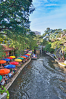 Another capture of the riverwalk in downtown San Antonio as the Casa Rio sets up one of there dinner boats for a group.  You can dine on the river barges or beside the river under one of the colorful umbrellas. The riverwalk is a main attraction for the city of San Antonio and toursit come from all over to spend time in this wonderful spot.