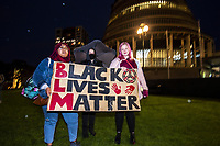Black Lives Matter George Floyd memorial vigil at Parliament in Welington, New Zealand on Monday, 1 June, 2020. Photo: Dave Lintott / lintottphoto.co.nz