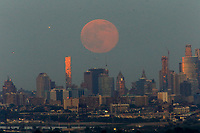EAGLE ROCK, NJ - JUNE 09: The Strawberry Moon rises over lower Manhattan on June 06, 2017 in Montclair, New Jersey. Photo by VIEWpress/Eduardo MunozAlvarez