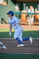 Chris Roller (41) of the Ogden Raptors bats against the Missoula Osprey at Lindquist Field on July 12, 2018 in Ogden, Utah. Missoula defeated Ogden 11-4. (Stephen Smith/Four Seam Images)