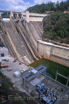 Warragamba Dam, Sydney's main water supply. Auxiliary spillway under construction. Western Sydney, NSW