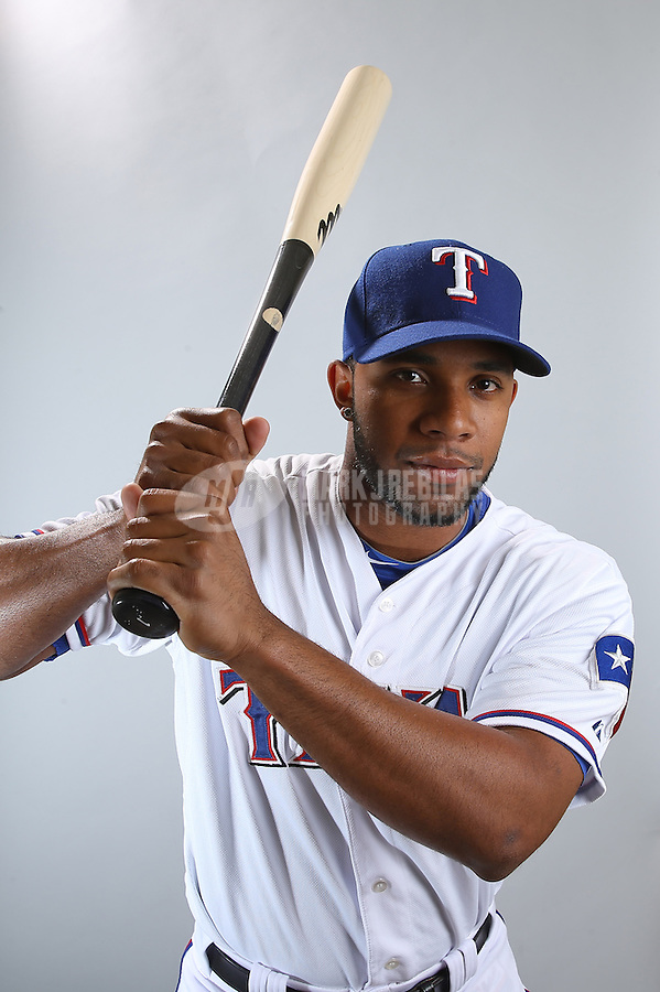 Feb. 20, 2013; Surprise, AZ, USA: Texas Rangers shortstop Elvis Andrus poses for a portrait during photo day at Surprise Stadium. Mandatory Credit: Mark J. Rebilas-
