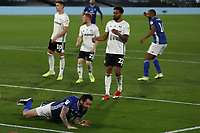 30th July 2020; Craven Cottage, London, England; English Championship Football Playoff Semi Final Second Leg, Fulham versus Cardiff City; Lee Tomlin of Cardiff City celebrates after he scores for 1-2 in the 47th minute