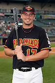 August 28 2008:  Brock Peterson (17) of the Rochester Red Wings, Class-AAA affiliate of the Minnesota Twins, during a game at Frontier Field in Rochester, NY.  Photo by:  Mike Janes/Four Seam Images