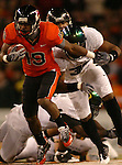 OSU WR, Sammie Stroughter, runs after a catch during the Civil War at Reser Stadium in Corvallis, November 29, 2008.
