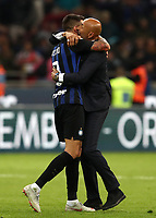 Calcio, Serie A: Inter Milano - AC Milan , Giuseppe Meazza stadium, .October 21, 2018.<br /> Inter's coach Luciano Spalletti (r) and Matias Vecino (l) celebrate after winning 1-0  the Italian Serie A football match between Inter and Milan at Giuseppe Meazza (San Siro) stadium, October 21, 2018.<br /> UPDATE IMAGES PRESS/Isabella Bonotto