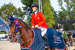 Winner. Jessica Springsteen. USA. Riding RMF Swinny Du Parc.  Lap Of Honour. Queen's Cup. Longines FEI Jumping Nations Cup Final. Showjumping. Barcelona. Spain. Day 2. 06/10/2018. ~ MANDATORY Credit Elli Birch/Sportinpictures - NO UNAUTHORISED USE - 07837 394578