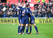 17th March 2018, Liberty Stadium, Swansea, Wales; FA Cup football, quarter-final, Swansea City versus Tottenham Hotspur; Christian Eriksen of Tottenham Hotspur celebrates with teammates after putting his side ahead early in the 1st half