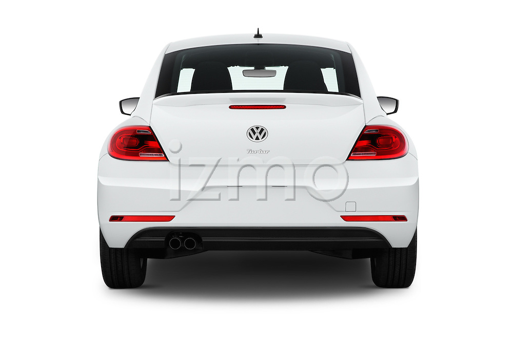 Straight rear view of 2017 Volkswagen Beetle S 3 Door Hatchback Rear View  stock images