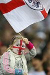 28 May 2008: A young England fan celebrates after the second England goal. The England Men's National Team defeated the United States Men's National Team 2-0 at Wembley Stadium in London, England in an international friendly soccer match.