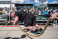 """Eddie """"The Beast"""" Hall takes his turn at the 'Truck Pull' event as fans watch on during the first day of the European Strongest Man competition, held in Leeds on 31st of April 2017."""