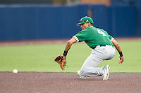 Eastern Michigan Hurons shortstop Marquise Gil (4) fields a ground ball against the Michigan Wolverines on May 3, 2016 at Ray Fisher Stadium in Ann Arbor, Michigan. Michigan defeated Eastern Michigan 12-4. (Andrew Woolley/Four Seam Images)