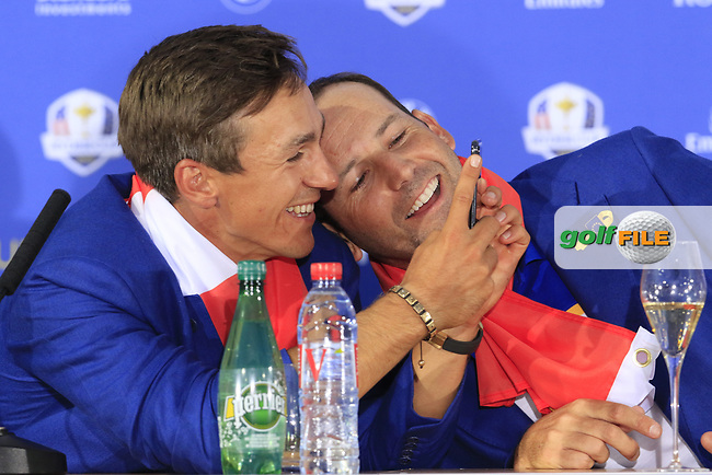 Thorbjorn Olesen and Sergio Garcia (Team Europe) at the press conference after Europe win the Ryder Cup 17.5 to 10.5 at the end of Sunday's Singles Matches at the 2018 Ryder Cup 2018, Le Golf National, Ile-de-France, France. 30/09/2018.<br /> Picture Eoin Clarke / Golffile.ie<br /> <br /> All photo usage must carry mandatory copyright credit (© Golffile | Eoin Clarke)