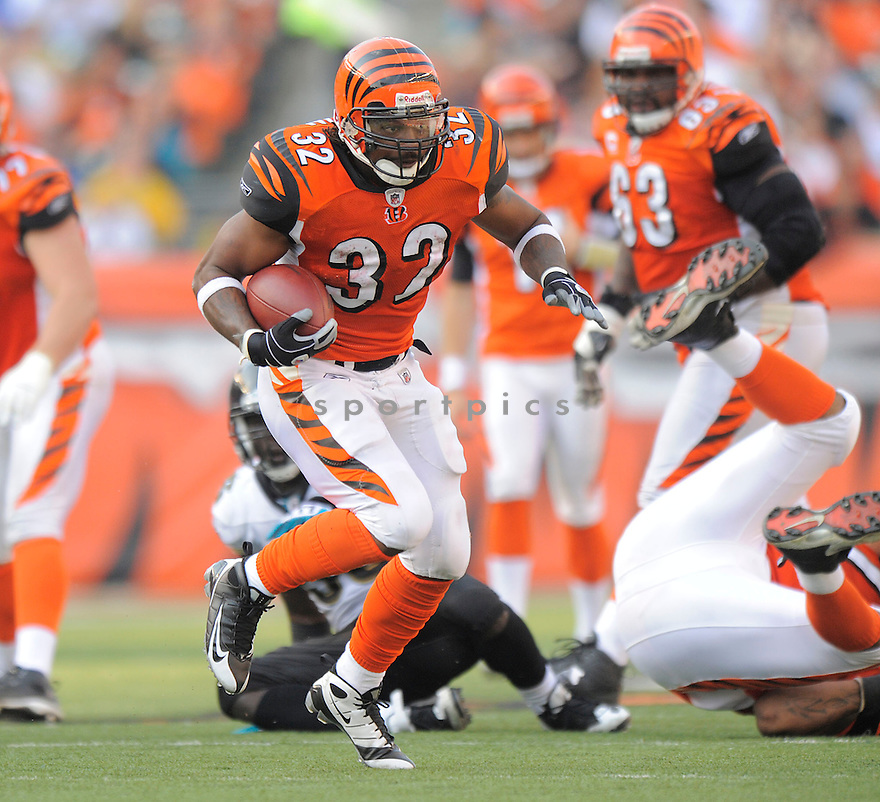 CEDRIC BENSON, of the Cincinnati Bengals, in action against the Jacksonville Jaguars during the Bengals game in Cincinnati, OH on Novmeber 12, 2008. ..Bengals win 21-19