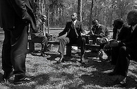 Members of the First Union African Baptist church sit and discuss island issues and politics following a service on Daufuskie Island.