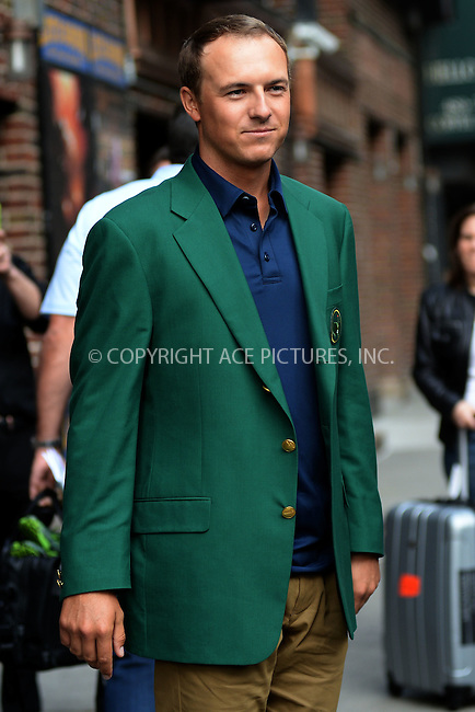 WWW.ACEPIXS.COM <br /> April 13, 2015 New York City<br /> <br /> Jordan Spieth after taping an appearance on the Late Show with David Letterman on April 13, 2015 in New York City.<br /> <br /> Please byline: Kristin Callahan/ACE Pictures  <br /> <br /> ACEPIXS.COM<br /> Ace Pictures, Inc<br /> tel: (212) 243 8787 or (646) 769 0430<br /> e-mail: info@acepixs.com<br /> web: http://www.acepixs.com