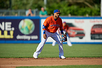 Syracuse Mets second baseman Robinson Cano (4) during an International League game against the Charlotte Knights on June 11, 2019 at NBT Bank Stadium in Syracuse, New York.  Syracuse defeated Charlotte 15-8.  (Mike Janes/Four Seam Images)