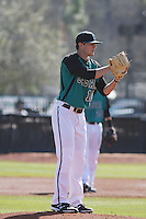 Coastal Carolina Chanticleers pitcher Josh Conway #16 pitching during a game against the University of Virginia Cavaliers at Watson Stadium at Vrooman Field on February 18, 2012 in Conway, SC.  Virginia defeated Coastal Carolina 9-3. (Robert Gurganus/Four Seam Images)