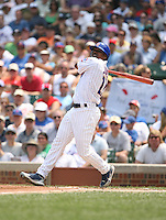 Jacque Jones of the Chicago Cubs vs. the San Diego Padres: June 18th, 2007 at Wrigley Field in Chicago, IL.  Photo by Mike Janes/Four Seam Images