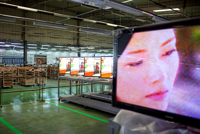 New LCD television sets are tested at the Samsung Vina Electronics Co. factory in district Thu Duc in Ho Chi Minh City, Vietnam. Photo taken on Friday, December 4, 2009. Kevin German / Luceo Images