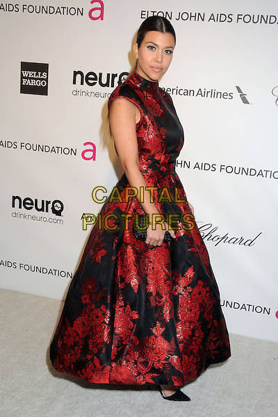 Kourtney Kardashian.21st Annual Elton John Academy Awards Viewing Party held at West Hollywood Park, West Hollywood, California, USA..February 24th, 2013.oscars full length dress side clutch bag red black embroidered floral print .CAP/ADM/BP.©Byron Purvis/AdMedia/Capital Pictures.