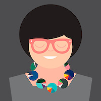Smiling businesswoman with pie chart necklace