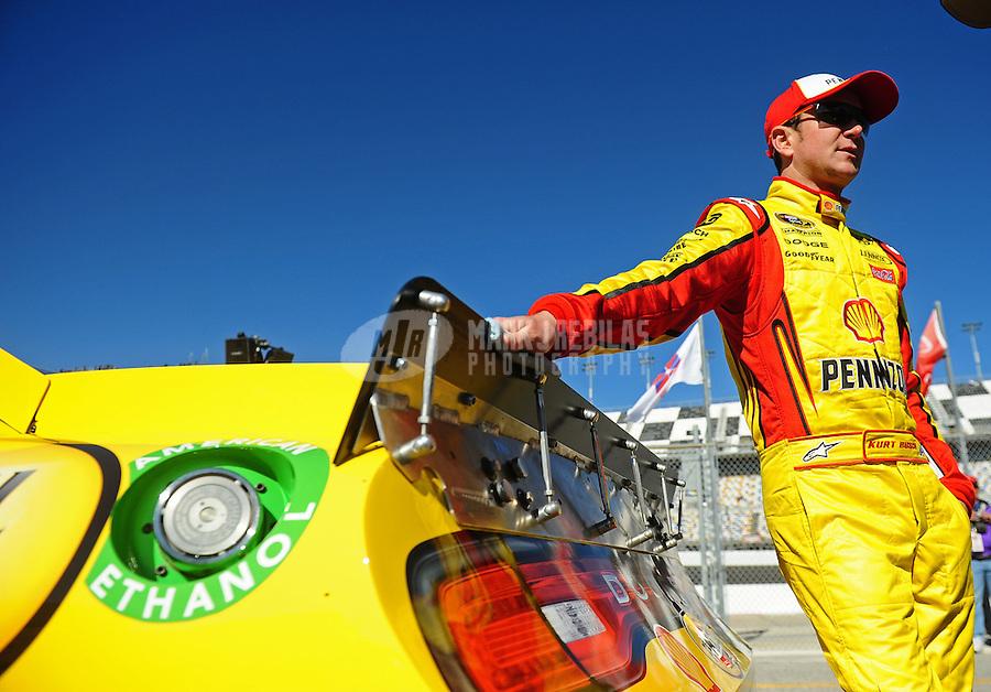 Feb 12, 2011; Daytona Beach, FL, USA; NASCAR Sprint Cup Series driver Kurt Busch during practice for the Daytona 500 at Daytona International Speedway. Mandatory Credit: Mark J. Rebilas-