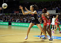 30.08.2017 Silver Ferns Bailey Mes in action during the Quad Series netball match between the Silver Ferns and England at the Trusts Arena in Auckland. Mandatory Photo Credit ©Michael Bradley.