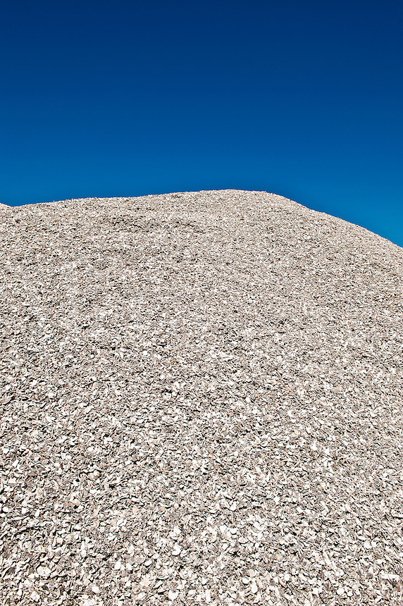 Mountain of broken oyster shells in the fishing village of Port norris, New Jersey. Used to create paths and driveways.