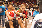 Concept2 Crash-B World Indoor Rowing Championships, 2012,  Rowing coaches coach, athletes as they compete annually on a Concept2 Indoor Rower for time over 2000 meters, Agganis Arena, Boston University, Boston, Massachusetts,