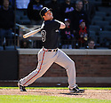MATT DIAZ, of the Atlanta Braves, in action during the Braves game against the New York Mets on April 7, 2012 at Citi Field in Corona, NY. The Mets beat the Braves 4-2.