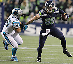 Seattle Seahawks tight end Jimmy Graham (88) brushes off a tackle by Carolina Panthers outside linebacker A.J. Klein (56) at CenturyLink Field in Seattle, Washington on December 4, 2016.  Graham caught six passes for 63 yards and scored one touchdown in the Seahawks 40-7 win over the Panthers.  ©2016. Jim Bryant photo. All Rights Reserved.