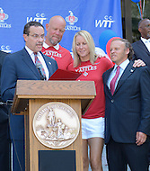 September 13, 2011 (Washington, DC)   District of Columbia Mayor Vincent Gray (left) issued a proclamation honoring the Washington Kastles at a press conference on Wednesday.  The Kastles won the WTT Championship with a perfect 16-0 season, the first in WTT history.  This marks the team's second championship in three seasons.  (C-R) Kastles Coach Murphy Jensen; Team Captain Rennae Stubbs, Owner Mark Ein. (Photo by Don Baxter/Media Images International)
