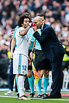 Manager Zinedine Zidane (r) of Real Madrid speaks to Marcelo Vieira Da Silva of Real Madrid during the La Liga 2017-18 match between Real Madrid and Sevilla FC at Santiago Bernabeu Stadium on 09 December 2017 in Madrid, Spain. Photo by Diego Souto / Power Sport Images