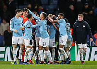 Manchester City players celebrate victory after a penalty shoot out<br /> <br /> Photographer Andrew Kearns/CameraSport<br /> <br /> English League Cup - Carabao Cup Quarter Final - Leicester City v Manchester City - Tuesday 18th December 2018 - King Power Stadium - Leicester<br />  <br /> World Copyright &copy; 2018 CameraSport. All rights reserved. 43 Linden Ave. Countesthorpe. Leicester. England. LE8 5PG - Tel: +44 (0) 116 277 4147 - admin@camerasport.com - www.camerasport.com