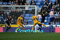 Reading's Matt Miazga (right) strikes to ball to scores his side's first and winning goal to give the new manager Mark Bowen a win in charge of his first game<br /> <br /> Photographer David Horton/CameraSport<br /> <br /> The EFL Sky Bet Championship - Reading v Preston North End - Saturday 19th October 2019 - Madejski Stadium - Reading<br /> <br /> World Copyright © 2019 CameraSport. All rights reserved. 43 Linden Ave. Countesthorpe. Leicester. England. LE8 5PG - Tel: +44 (0) 116 277 4147 - admin@camerasport.com - www.camerasport.com
