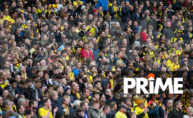 Watford supporters during the FA Cup Semi Final match between Crystal Palace and Watford at Wembley Stadium, London, England on 24 April 2016. Photo by Andy Rowland.