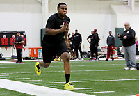 NWA Democrat-Gazette/DAVID GOTTSCHALK  Jeremiah Ledbetter participates in the 40 yard dash Wednesday, March 15, 2017, during the Arkansas Pro Day inside the Walker Pavilion on the campus of the University of Arkansas in Fayetteville.