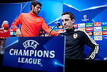 Valencia captain Dani Parejo and Gary Neville head coach of Valencia at a press conference - UEFA Champions League -  Official pre match Training Session and press conference - Valencia CF vs Lyon  - Paterna Training Ground - Valencia - Spain - 8th December 2015 - Pic David Aliaga/Sportimage