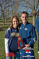 Northern Arizona sophomore, Joplin, Missouri native, and State Champion for College Heights Christian, Caleb Hoover, celebrates his team's 4th place finish at the 2012 NCAA DI Cross Country Championships with mother Sara Dougherty, Saturday, November 17, in Louisville, Kentucky
