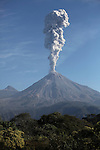 Ash cloud rising from Colima Volcano following explosive eruption, Mexico.
