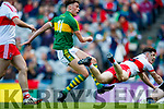 David Clifford Kerry scores his side's fifth goal despite the attention of Padraig McGrogan Derry in the All-Ireland Minor Footballl Final in Croke Park on Sunday.