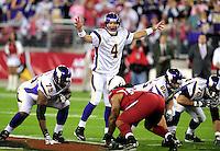 Dec 6, 2009; Glendale, AZ, USA; Minnesota Vikings quarterback (4) Brett Favre calls a play in the first quarter against the Arizona Cardinals at University of Phoenix Stadium. Mandatory Credit: Mark J. Rebilas-