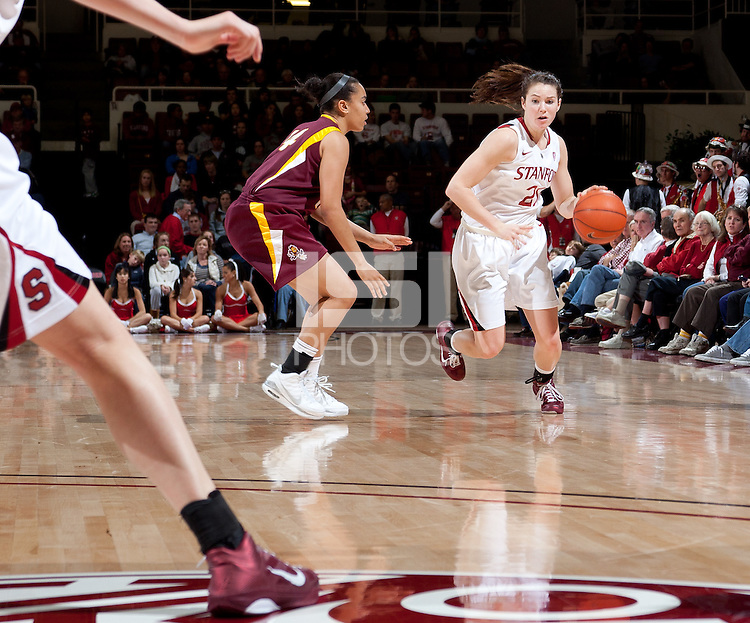 STANFORD, CA - January 8, 2011: Sara James of the Stanford Cardinal women's basketball team during Stanford's game against Arizona State at Maples Pavilion. Stanford won 82-35.