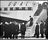BNPS.co.uk (01202 558833)<br /> Pic: QueensFlightArchive<br /> <br /> Historic picture - London 1952, Churchill and Clement Attlee greet Princess Elizabeth after her return from Africa after the death of her father.<br /> <br /> A new book gives an intimate look behind the scenes of the Royal Flight and also the flying Royals.<br /> <br /> Starting in 1917 the book charts in pictures the 100 year evolution of first the King's Flight and then later the Queen's Flight as well as the Royal families passion for aviation.<br /> <br /> Author Keith Wilson has had unprecedented access to the Queen's Flight Archives to provide a fascinating insight into both Royal and aeronautical history.