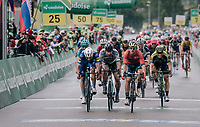 bunch sprint with 3 tenors leading the way: Peter Sagan (SVK/Bora-Hansgrohe) vs Sonny Colbrelli (ITA/Bahrain-Merida) vs Fernando Gaviria (COL/Quick Step Floors).<br /> Sonny won...<br /> <br /> Stage 3: Oberstammheim &gt; Gansingen (182km)<br /> 82nd Tour de Suisse 2018 (2.UWT)